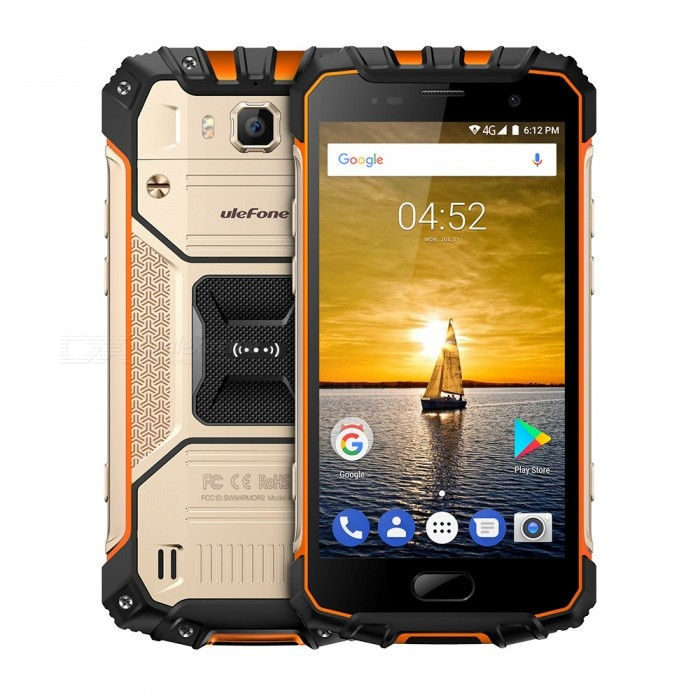 Ulefone Armor 2 Waterproof IP68 4G Phone w/ 6GB RAM 64GB ROM - GoldenAndroid Phones<br>Form  ColorGoldenRAM6GBROM64GBBrandUlefoneModelArmor 2Quantity1 pieceMaterialWaterproof injection moldingShade Of ColorGoldTypeBrand NewPower AdapterEU PlugHousing Case MaterialWaterproof injection moldingTime of Release2017.8.15Network Type2G,3G,4GBand DetailsGSM: 1900/1800/850/900 (B2/3/5/8WCDMA: 2100/1900/1700/850/900(B1/2/4/5/8 CDMA2000BC0  TD-SCDMA: 2015/1900 B34/39FDD-LTE: 2100/1900/1800/1700/850/2600/900/700/700/850/800 (B1/2/3/4/5/7/8/12/17/19/20/)TDD-LTE: 2500/1900/2300/2500 (B38/39/40/41)Data TransferGPRS,HSDPA,EDGE,LTEWLAN Wi-Fi 802.11 a,b,g,n,Dual band Wi-Fi (2.4GHz / 5GHz)SIM Card TypeNano SIMSIM Card Quantity2Network StandbyDual Network StandbyGPSA-GPS,GLONASSNFCYesInfrared PortNoBluetooth VersionBluetooth V4.1Operating SystemAndroid 7.xCPU ProcessorMTK Helio P25<br>Octa-core 64-bit 2.6GHzCPU Core QuantityOcta-CoreGPUARM Mali-T880 1GHzLanguageIndonesian, Malay, Catalan, Czech, Danish, German, Estonian, English, Spanish, Filipino, French, Croatian, Italian, Latvian, Lithuanian, Hungarian, Dutch, Norwegian, Polish, Portuguese, Romanian, Slovak, Finnish, Swedish, Vietnamese, Greek, Turkish, Bulgarian, Russian, Serb, Ukrainian, Armenian, Hebrew, Urdu, Arabic, Persian, Hindi, Bengali, Thai, Korean, Burmese, Japanese, Simplified Chinese, Traditional ChineseAvailable Memory53GBMemory CardTF CardMax. Expansion Supported256GBSize Range5.0~5.4 inchesTouch Screen TypeIPSScreen Resolution1920*1080Multitouch5Screen Size ( inches)5.0Camera PixelOthers,16MPFront Camera Pixels8.0 MPVideo Recording Resolution1080p 60fpsFlashYesAuto FocusYESTouch FocusYesTalk Time20 hoursStandby Time640 hoursBattery Capacity4700 mAhBattery ModeNon-removableQuick Charge9V 2AfeaturesWi-Fi,GPS,FM,Bluetooth,NFC,OTGSensorG-sensor,Proximity,Compass,Gesture,Barometer,Fingerprint authentication sensorWaterproof LevelIPX8Dust-proof LevelYESShock-proofYesI/O InterfaceUSB Type-c,Micro USB v2.0,OTGSoftwareGoogle.Gallery,Gmail,FM Radio,SOS.ZELLO,Maps.Sound Meter.Compass.Flashlight.Bubble Level,Heart Rate.Height Measure.Magnifier.Alarm.Pedometer.Plumb Bob.Protractor.Pressure.etc.Format SupportedMIDI.MP3.AAC. ARM. AWB. WAV. FLAC.3GPP.MPEG-4H.264.WMV9.VP9JAVANoTV TunerNoRadio TunerFMWireless ChargingNoOther Features5.0+FHD +IPS + Dual Network Standby + Android 7.0 + 6GB RAM + 64GB ROM + Wi-Fi + GPS +GLONASS +FM + OTG + 16.0MP camera + 8.0MP secondary camera + Gesture control + Compass + 4700mAh battery + fingerprint sensor + Octa-Core+IP68+Waterproof+Pedometer+Protractor+Pressure+Magnifier+Flashight+Bubble LevelReference Websites== Will this mobile phone work with a certain mobile carrier of yours? ==CertificationFCC.CE.MSDS.UN38.3 ect.Packing List1 x Phone 1 x Data cable (100cm)1 x USB Type C to 3.5mm headphone adapter1 x Micro USB to Type-C adapter1 x AC power charger adapter ( 100~240V / EU plug) 1 x Warranty card1 x Multi-language user manual1 x Screwdriver<br>