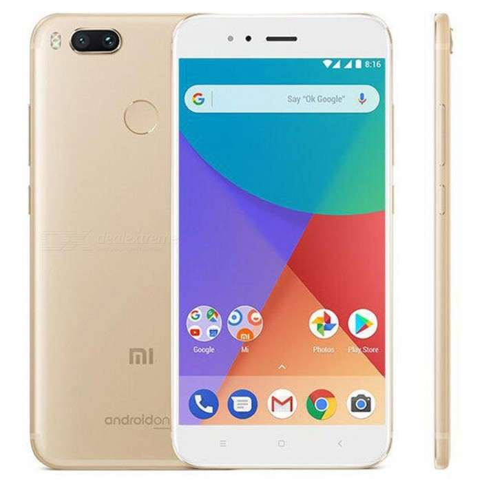 Xiaomi Mi A1 Android 7.1.2 4G Phone w/ 4GB RAM 64GB ROM - GoldAndroid Phones<br>Form  ColorGoldenRAM4GBROM64GBBrandXiaomiModelMi A1Quantity1 pieceMaterialMetalShade Of ColorGoldTypeBrand NewPower AdapterEU PlugNetwork Type2G,3G,4GBand Details2G: GSM 850/900/1800/1900MHz  3G: WCDMA 850/900/1900/2100MHz  4G: FDD-LTE B1/B3/B5/B7/B8/B20        TDD-LTE B38/B40Data TransferHSDPA,LTEWLAN Wi-Fi 802.11 a,b,g,n,ac,Dual band Wi-Fi (2.4GHz / 5GHz),Others,WiFi Direct, hotspotSIM Card TypeNano SIMSIM Card Quantity2Network StandbyDual Network StandbyGPSYes,A-GPS,BDS,GLONASSInfrared PortYesBluetooth VersionBluetooth V4.2Operating SystemOthers,Android 7.1.2 (Nougat)CPU ProcessorSnapdragon 625 processor, max 2.0GHz<br><br>14nm FinFET, high performance and power efficiencyCPU Core QuantityOcta-CoreGPUAdreno 506 graphics 650MHzLanguageBahasa Indonesia, Deutsch, English, Espanol(Spanish), Espanol, French, Magyar, Uzbekistan, Polish, Portuguese, Romana, Slovencina, Vietnamese, Turkish, Czech, Russian, Ukrainian, Bulgarian, Hindi, Bengali, Gujarati, Assamese, Tamil, Telugu, Nepali, Thai, Arabic, Persian, Hebrew, Traditional/Simplified ChineseAvailable MemoryN/AMemory CardmicroSDMax. Expansion SupportedUp to 128GB expandable storageSize Range5.5 inches &amp; OverTouch Screen TypeIPSScreen Resolution1920*1080MultitouchOthers,YesScreen Size ( inches)5.5Camera type3 x CamerasCamera PixelOthers,Dual 12 MP (26mm, f/2.2; 50mm, f/2.6), phase detection autofocus, 2x optical zoom, dual-LED (dual tone) flash,Front Camera Pixels5.0 MPVideo Recording Resolution4K Video,Support 1080P Video Recording,Support 720P Video RecordingFlashYesTouch FocusYesOther Camera Features1.25 µm/ 1.0 µm pixel size, geo-tagging, touch focus, face detection, HDR, panoramaTalk Time- hourStandby Time- hourBattery Capacity3080mAh(typ) / 3000mAh(min) mAhBattery ModeNon-removableQuick Charge5V / 2AfeaturesWi-Fi,GPS,FM,BluetoothSensorG-sensor,Proximity,Accelerometer,Fingerprint authentication sensor,Others,Ambient light sensor ,