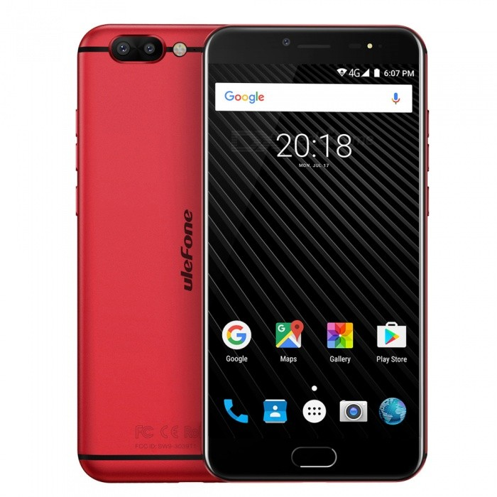 Ulefone T1 Android 7.0 Dual Camera 4G Phone w/ 6GB RAM 64GB ROM - RedAndroid Phones<br>Form  ColorRed US PlugRAM6GBROM64GBBrandUlefoneModelT1Quantity1 pieceMaterialMetal BodyShade Of ColorRedTypeBrand NewPower AdapterUS PlugHousing Case MaterialMetal BodyTime of Release2017.8.1Network Type2G,3G,4G,Others,CDMABand DetailsGSM: 1900/1800/850/900 WCDMA: 2100/1900/1700/850/900 CDMA2000 FDD-LTE: B1/2/3/4/5/7/8/12/17/19/20Band12100Band2:1900,Band3:1800,Band4:1700,Band5:850,Band7:2600,Band8:900,Band12:700,Band17:700,Band19:850,Band20:800);TDD-LTE: 2500/1900/2300/2500 (Band38:2500,Band39:1900,Band40:2300,Band41:2500)Data TransferGPRS,HSDPA,EDGE,LTE,HSUPAWLAN Wi-Fi 802.11 a,b,g,nSIM Card TypeNano SIMSIM Card Quantity2Network StandbyDual Network StandbyGPSA-GPS,GLONASSNFCNoBluetooth VersionBluetooth V4.1Operating SystemAndroid 7.xCPU ProcessorMTK Helio P25 Octa-core 64-bit 2.6GHzCPU Core QuantityOcta-CoreGPUARM Mali-T880 1GHzLanguageIndonesian, Malay, Catalan, Czech, Danish, German, Estonian, English, Spanish, Filipino, French, Croatian, Italian, Latvian, Lithuanian, Hungarian, Dutch, Norwegian, Polish, Portuguese, Romanian, Slovak, Finnish, Swedish, Vietnamese, Greek, Turkish, Bulgarian, Russian, Serb, Ukrainian, Armenian, Hebrew, Urdu, Arabic, Persian, Hindi, Bengali, Thai, Korean, Burmese, Japanese, Simplified Chinese, Traditional ChineseAvailable Memory55GBMemory CardTF CardMax. Expansion Supported256GBSize Range5.5 inches &amp; OverTouch Screen TypeIPSScreen Resolution1920*1080Multitouch5Screen Size ( inches)5.5Screen Edge2.5D Curved EdgeCamera type2 x CamerasCamera PixelOthers,16MP + 5MPFront Camera Pixels13 MPVideo Recording Resolution1080p 60fpsFlashYesAuto FocusYESTouch FocusYesTalk Time10 hoursStandby Time450 hoursBattery Capacity3680 mAhBattery ModeNon-removableQuick Charge9V 2AfeaturesWi-Fi,GPS,Bluetooth,OTGSensorG-sensor,Proximity,Compass,Fingerprint authentication sensorWaterproof LevelIPX0 (Not Protected)Shock-proofNoI/O Interface3.5mm,SIM Slot,USB Type-c,Micro 
