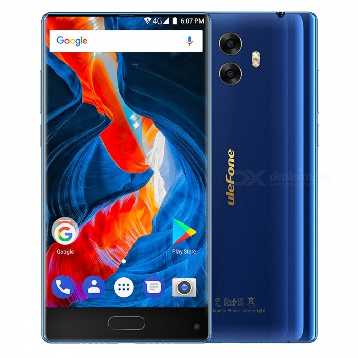 Presale Ulefone Mix 5.5 Bezel-less Android 7.0 4G Phone w/ 4GB RAM 64GB ROM - Blue (EU Plug)Android Phones<br>Form  ColorBlueRAM4GBROM64GBBrandUlefoneModelMixQuantity1 pieceMaterialZinc alloyShade Of ColorBlueTypeBrand NewPower AdapterEU PlugHousing Case MaterialZinc alloy frameTime of Release2017.9.25Network Type2G,3G,4GBand DetailsGSM: 850/900/1800/1900 (B5/8/3/2 WCDMA: 2100/900(B1/8 FDD-LTE: 2100/1800/2600/900/800(B1/3/7/8/20)Data TransferGPRS,HSDPA,EDGE,LTEWLAN Wi-Fi 802.11 a,b,g,n,Dual band Wi-Fi (2.4GHz / 5GHz)SIM Card TypeMicro SIM,Nano SIMSIM Card Quantity2Network StandbyDual Network StandbyGPSYes,A-GPS,GLONASSNFCNoBluetooth VersionBluetooth V4.1Operating SystemAndroid 7.xCPU ProcessorMTK MT6750T.Octa-core 64-bit 1.5GHzCPU Core QuantityOcta-CoreGPUARM Mali T860 MP2 520MHzLanguageIndonesian, Malay, Catalan, Czech, Danish, German, Estonian, English, Spanish, Filipino, French, Croatian, Italian, Latvian, Lithuanian, Hungarian, Dutch, Norwegian, Polish, Portuguese, Romanian, Slovak, Finnish, Swedish, Vietnamese, Greek, Turkish, Bulgarian, Russian, Serb, Ukrainian, Armenian, Hebrew, Urdu, Arabic, Persian, Hindi, Bengali, Thai, Korean, Burmese, Japanese, Simplified Chinese, Traditional ChineseAvailable Memory55GBMemory CardTF CardMax. Expansion Supported256GBSize Range5.5 inches &amp; OverTouch Screen TypeIPSScreen Resolution1280*720Multitouch5Screen Size ( inches)5.5Camera type2 x CamerasCamera Pixel13.0MPFront Camera Pixels8.0MP/ (SW.13.0MP) pixelsFlashYesTouch FocusYesTalk Time9 hoursStandby Time480 hoursBattery Capacity3300 mAhBattery ModeNon-removablefeaturesWi-Fi,GPS,FM,Bluetooth,OTGSensorG-sensor,Proximity,Compass,Gesture,Fingerprint authentication sensor,Others,GyroWaterproof LevelIPX0 (Not Protected)I/O Interface3.5mm,Micro USB v2.0,OTGSoftwareNormal Google SoftwareFormat SupportedMIDI.MP3.AAC. ARM.AWB.WAV.FLAC.3GPP.MPEG-4.H.264.WMV9.VP9JAVANoTV TunerNoRadio TunerFMWireless ChargingNoOther Features5.5 + HD + Android 7.0 +Dual Camera 13MP+5MP /13MP +MT6750