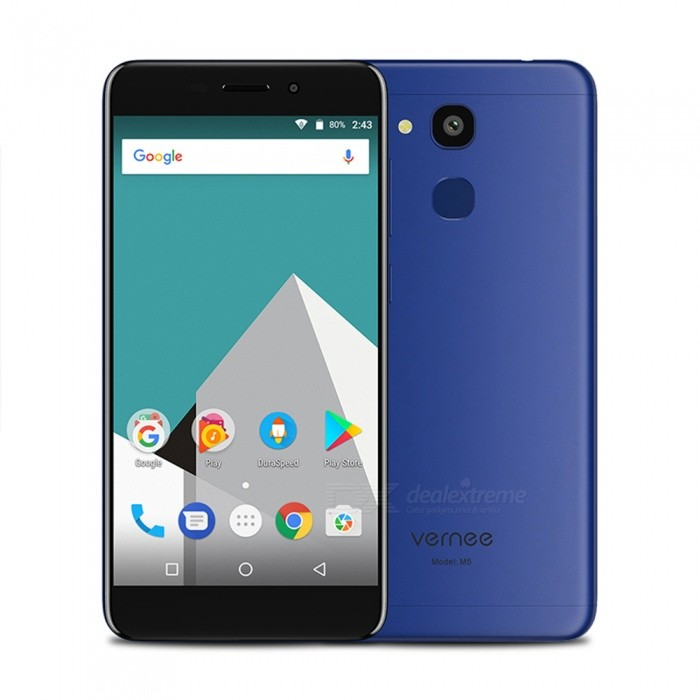 VERNEE M5 Android 7.0 4G Phone w/ 4GB RAM 64GB ROM, 5.2 FHD, Dual SIM, Octa-Core, Dual Camera, 3300mAh Battery - BlueAndroid Phones<br>Form  ColorBlueRAM4GBROM64GBBrandOthers,VERNEEModelM5Quantity1 setMaterialMetalShade Of ColorBlueTypeBrand NewPower AdapterEU PlugHousing Case MaterialMetalNetwork Type2G,3G,4GBand Details4G:FDD-LTE:2100/1800/2600/900/800(B1/3/7/8/20) 3G:WCDMA:2100/900(B1/8) 2G:GSM: 850/900/1800/1900(B5/8/3/2)Data TransferGPRS,HSDPA,LTEWLAN Wi-Fi 802.11 b,g,nSIM Card TypeNano SIMSIM Card Quantity2Network StandbyDual Network StandbyGPSYesNFCNoInfrared PortNoBluetooth VersionBluetooth V4.0Operating SystemOthers,Android 7.0CPU ProcessorMT6750  1.5GHzCPU Core QuantityOcta-CoreGPUARM Mali-T860LanguageAfrikaans / Indonesian / Malay / Czech / Danish / Germany(German) / Germany (Austria) / English(United Kingdom) / English(United States) / Spanish(Espana) / Spanish(Estados Unidos) / Filipino / French / Croatian / Zulu / Italian / Swahili / Latviesu / Lithuanian / Hungarian / Dutch / Norsk bokmal / Polish / Portuguese(Brasil) / Portuguese(Portugal) / Romanian / Rumantsch / Slovak / Slovenscina / Finnish / Swedish / Vietnamese / Turkish / Russian / Greek / Hebrew / Arabic / Hindi / Thai / Korean / Simplified Chinese / Traditional ChineseAvailable Memory56GBMemory CardNano SIMMax. Expansion Supported128GBSize Range5.0~5.4 inchesTouch Screen TypeIPSScreen Resolution1280*720Screen Size ( inches)Others,5.2Camera type2 x CamerasCamera Pixel13.0MPFront Camera Pixels8.0 MPFlashNoTalk Time48 hoursStandby Time90 hoursBattery Capacity3300 mAhBattery ModeNon-removablefeaturesWi-Fi,GPS,FM,BluetoothSensorG-sensor,Proximity,Accelerometer,Fingerprint authentication sensorWaterproof LevelIPX0 (Not Protected)Dust-proof LevelNOShock-proofNoI/O InterfaceMicro USB v2.0SoftwareFacebook, Twitter, Google browser, Google map, Electric Torch, FM Radio, Email, Music, Clock, G-mail, Play store, Camera, Gallery, Voice Search, Messaging, QQ, WeChatFormat SupportedWAV, AMR, MP3, MID, 3GP, 