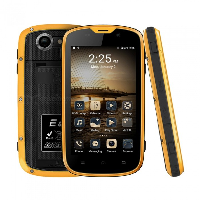 EL W5 Android 6.0 4G 4.0 FHD Dual SIM Quad-Core Phone w/ 1GB RAM, 8GB ROM - YellowAndroid Phones<br>Form  ColorYellowRAM1GBROM8GBBrandOthers,ELModelW5Quantity1 setMaterialPVCShade Of ColorYellowTypeBrand NewPower AdapterEU PlugHousing Case MaterialPVCNetwork Type2G,3G,4GBand Details2G GSM(850MHz/900MHz/1800MHz/1900MHz)    3G WCDMA(850/900/1900/2100)    4G FDD-LTE(B1/B2/B3/B4/B5/B7/B8/B17/B20)Data TransferGPRS,HSDPA,LTEWLAN Wi-Fi 802.11 b,g,nSIM Card TypeMicro SIMSIM Card Quantity2Network StandbyDual Network StandbyGPSYesNFCNoInfrared PortNoBluetooth VersionBluetooth V4.0Operating SystemAndroid 6.0CPU ProcessorMTK 6735M  1.0GHzCPU Core QuantityQuad-CoreGPUARM MALI-T720 MP1LanguageAfrikaans / Indonesian / Malay / Czech / Danish / Germany(German) / Germany (Austria) / English(United Kingdom) / English(United States) / Spanish(Espana) / Spanish(Estados Unidos) / Filipino / French / Croatian / Zulu / Italian / Swahili / Latviesu / Lithuanian / Hungarian / Dutch / Norsk bokmal / Polish / Portuguese(Brasil) / Portuguese(Portugal) / Romanian / Rumantsch / Slovak / Slovenscina / Finnish / Swedish / Vietnamese / Turkish / Russian / Greek / Hebrew / Arabic / Hindi / Thai / Korean / Simplified Chinese / Traditional Chinese.Available Memory6GBMemory CardmicroSDMax. Expansion Supported128GBSize Range4.0~4.4 inchesTouch Screen TypeIPSScreen ResolutionOthers,800*854Screen Size ( inches)4.0Camera type2 x CamerasCamera Pixel5.0MPFront Camera Pixels2 MPFlashNoTalk Time36 hourStandby Time72 hourBattery Capacity2800 mAhBattery ModeNon-removablefeaturesWi-Fi,GPS,FM,BluetoothSensorProximity,Compass,AccelerometerWaterproof LevelOthers,IP68Dust-proof LevelYesShock-proofYesI/O InterfaceMicro USB v2.0SoftwareSMS(threaded view),MMS,Email,Push Email,IMFormat SupportedMP3/eAAC+/WAV/MP4JAVANoTV TunerNoRadio TunerFMWireless ChargingNoOther Features4.0 HD IPS + Dual Network Standby + Android6.0 + 1GB RAM + 8GB ROM + Wi-Fi + GPS + FM  +  2.0MP Front camera+ 5.0MP Rear camera + 2800mAh battery + Quad