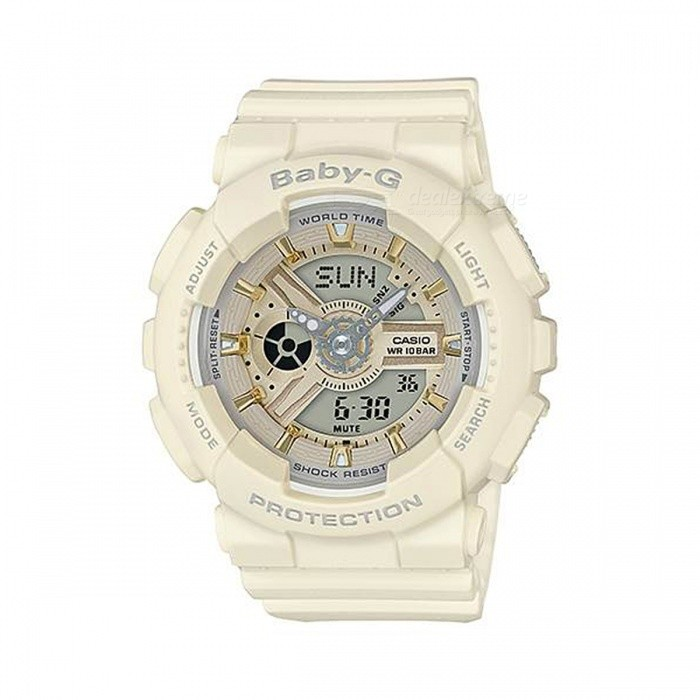 Casio Baby-G BA-110GA-7A2 100m Waterproof Analog Digital Display Ladies Watch w/ Resin Strap - WhiteSport Watches<br>Form  ColorWhiteModelBA-110GA-7A2Quantity1 pieceShade Of ColorWhiteCasing MaterialResinWristband MaterialResinSuitable forAdultsGenderUnisexStyleWrist WatchTypeCasual watchesDisplayAnalog + DigitalMovementQuartzDisplay Format12/24 hour time formatWater ResistantWater Resistant 10 ATM or 100 m. Suitable for recreational surfing, swimming, snorkeling, sailing and water sports.Dial Diameter4.34 cmDial Thickness1.58 cmWristband Length22 cmBand Width2.5 cmBattery2 x SR726WPacking List1 x BA-110GA-7A2 Watch<br>