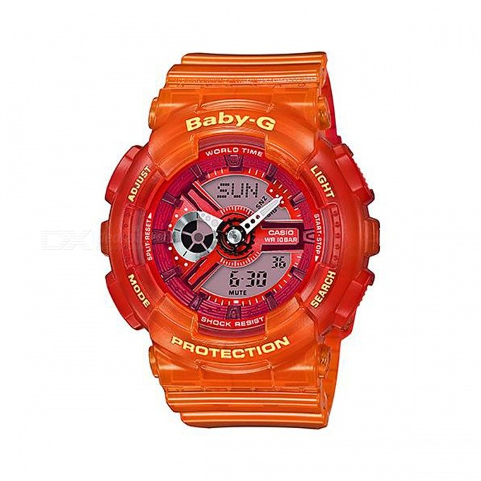 Casio Baby-G BA-110JM-4A 50m Waterproof Analog Digital Display Sport Watch with LED Light - OrangeSport Watches<br>Form  ColorOrangeModelBA-110JM-4AQuantity1 pieceShade Of ColorOrangeCasing MaterialResinWristband MaterialResinSuitable forAdultsGenderUnisexStyleWrist WatchTypeCasual watchesDisplayAnalog + DigitalMovementQuartzDisplay Format12/24 hour time formatWater ResistantWater Resistant 5 ATM or 50 m. Suitable for swimming, white water rafting, non-snorkeling water related work, and fishing.Dial Diameter4.63 cmDial Thickness1.58 cmWristband Length22 cmBand Width2.5 cmBattery2 x SR726WPacking List1 x BA-110JM-4A Watch<br>
