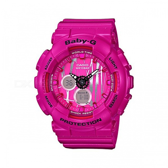 Casio Baby-G BA-120SP-4A 100m Waterproof Analog Digital Display Ladies Sport Watch w/ Resin Strap - BlackSport Watches<br>Form  ColorPinkModelBA-120SP-4AQuantity1 pieceShade Of ColorPinkCasing MaterialResinWristband MaterialResinSuitable forAdultsGenderUnisexStyleWrist WatchTypeCasual watchesDisplayAnalog + DigitalMovementQuartzDisplay Format12/24 hour time formatWater ResistantWater Resistant 10 ATM or 100 m. Suitable for recreational surfing, swimming, snorkeling, sailing and water sports.Dial Diameter4.34 cmDial Thickness1.58 cmWristband Length22 cmBand Width2.5 cmBattery2 x SR726WPacking List1 x BA-120SP-4A Watch<br>