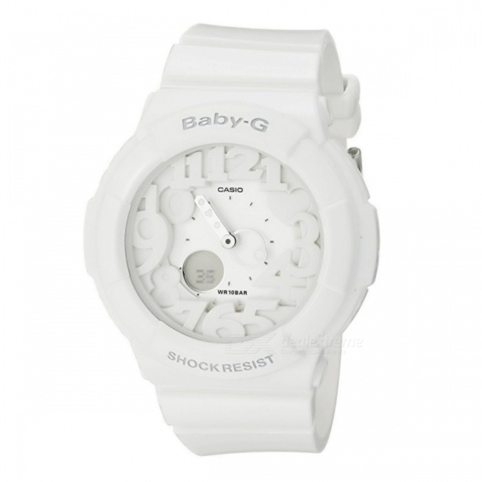 Casio Baby-G BGA-131-7B 100-Meter Water Resistance Analog Watch - WhiteSport Watches<br>Form  ColorWhiteModelBGA-131-7BQuantity1 pieceShade Of ColorWhiteCasing MaterialResinWristband MaterialResinSuitable forAdultsGenderUnisexStyleWrist WatchTypeCasual watchesDisplayAnalogBacklightLED BlacklightMovementQuartzDisplay Format12/24 hour time formatWater ResistantWater Resistant 10 ATM or 100 m. Suitable for recreational surfing, swimming, snorkeling, sailing and water sports.Dial Diameter4.34 cmDial Thickness1.5 cmWristband Length22 cmBand Width2.5 cmBattery2 ? SR726WPacking List1 x BGA-131-7B Watch<br>