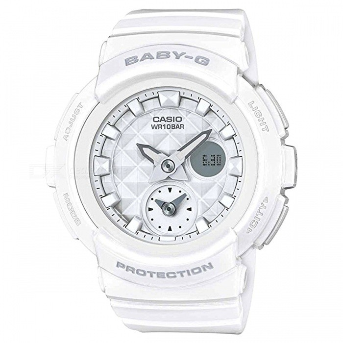 Casio Baby-G BGA-195-7A 100-Meter Water Resistance Sport Watch with Resin Band and Case - WhiteSport Watches<br>Form  ColorWhiteModelBGA-195-7AQuantity1 pieceShade Of ColorWhiteCasing MaterialResinWristband MaterialResinSuitable forAdultsGenderUnisexStyleWrist WatchTypeCasual watchesDisplayAnalog + DigitalMovementQuartzDisplay Format12/24 hour time formatWater ResistantWater Resistant 10 ATM or 100 m. Suitable for recreational surfing, swimming, snorkeling, sailing and water sports.Dial Diameter4.8 cmDial Thickness1.55 cmWristband Length22 cmBand Width2.5 cmBattery2 x SR726WPacking List1 x BGA-195-7A Watch<br>