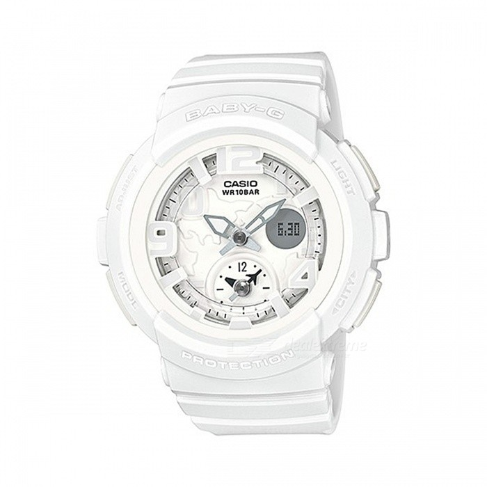 Casio Baby-G BGA-190BC-7B Watch - WhiteSport Watches<br>Form  ColorWhiteModelBGA-190BC-7BQuantity1 pieceShade Of ColorWhiteCasing MaterialResinWristband MaterialResinSuitable forAdultsGenderUnisexStyleWrist WatchTypeCasual watchesDisplayAnalog + DigitalMovementDigitalDisplay Format12/24 hour time formatWater ResistantWater Resistant 10 ATM or 100 m. Suitable for recreational surfing, swimming, snorkeling, sailing and water sports.Dial Diameter4.8 cmDial Thickness1.55 cmWristband Length22 cmBand Width2.5 cmBattery2 x SR726WPacking List1 x BGA-190BC-7B Watch<br>