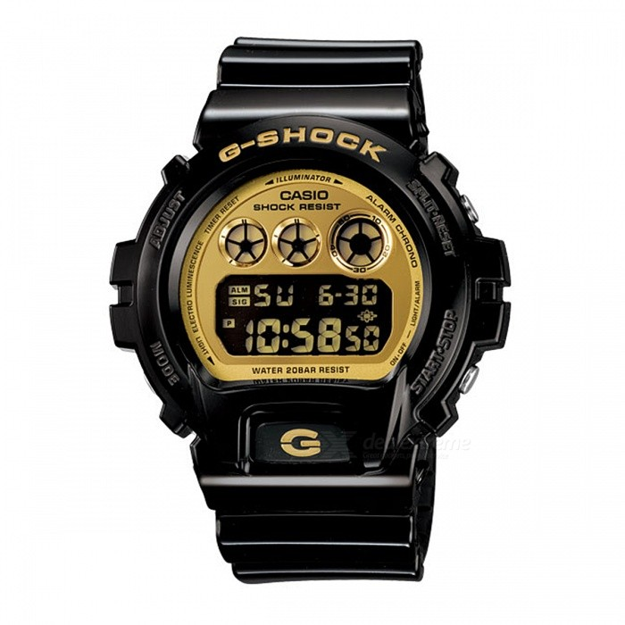 Casio G-Shock DW-6900CB-1 200-meter Water Resistance Digital Watch with EL Backlight - Black + GoldSport Watches<br>Form  ColorBlack + GoldModelDW-6900CB-1Quantity1 pieceShade Of ColorBlackCasing MaterialResinWristband MaterialResinSuitable forAdultsGenderUnisexStyleWrist WatchTypeCasual watchesDisplayDigitalMovementDigitalDisplay Format12/24 hour time formatWater ResistantOthers,200-meter water resistanceDial Diameter5.32 cmDial Thickness1.63 cmWristband Length22 cmBand Width2.5 cmBattery1 x CR2016Packing List1 x DW-6900CB-1 Watch<br>