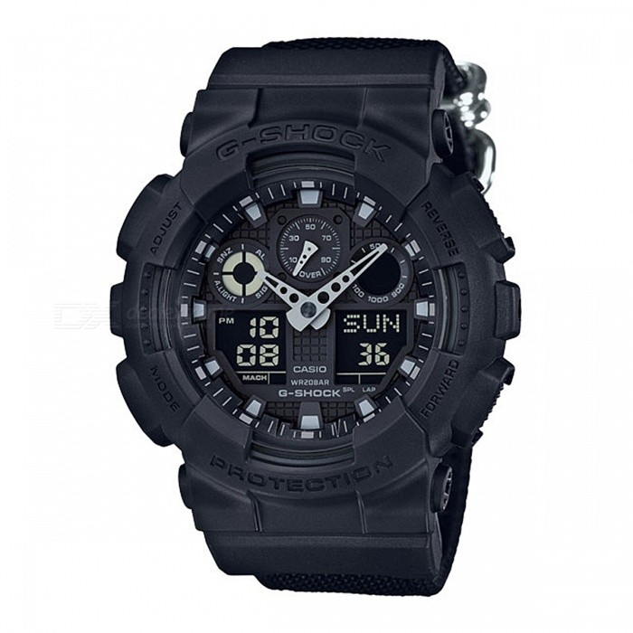 Casio G-Shock GA-100BBN-1A 200-meter Water Resistance Cordura Adult Watch - BlackSport Watches<br>Form  ColorBlackModelGA-100BBN-1AQuantity1 pieceShade Of ColorBlackCasing MaterialResinWristband MaterialClothSuitable forAdultsGenderUnisexStyleWrist WatchTypeCasual watchesDisplayAnalog + DigitalMovementDigitalDisplay Format12/24 hour time formatWater ResistantOthers,200-meter water resistanceDial Diameter5.5 cmDial Thickness1.69 cmWristband Length22 cmBand Width2.5 cmBattery1 x CR1220Packing List1 x GA-100BBN-1A Watch<br>