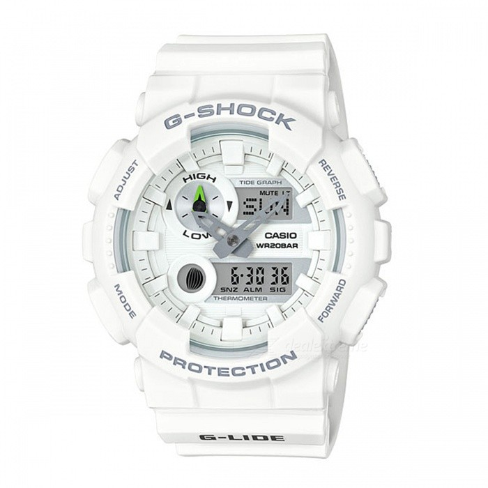Casio G-Shock GAX-100A-7A G-LIDE Magnetic Resistant 200-meter Water Resistance Sport Watch with Thermometer - WhiteSport Watches<br>Form  ColorWhiteModelGAX-100A-7AQuantity1 pieceShade Of ColorWhiteCasing MaterialResinWristband MaterialResinSuitable forAdultsGenderUnisexStyleWrist WatchTypeCasual watchesDisplayAnalog + DigitalMovementDigitalDisplay Format12/24 hour time formatWater ResistantOthers,200-meter water resistanceDial Diameter5.5 cmDial Thickness1.69 cmWristband Length22 cmBand Width2.5 cmBattery2 x SR927WPacking List1 x GAX-100A-7A Watch<br>