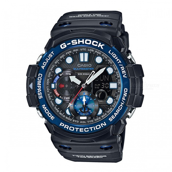 Casio G-Shock GN-1000B-1A 200-meter Water Resistance Gulfmaster Series Sport Digital Compass Watch with Thermometer - Black+BlueSport Watches<br>Form  ColorBlack + BlueModelGN-1000B-1AQuantity1 pieceShade Of ColorBlackCasing MaterialResinWristband MaterialResinSuitable forAdultsGenderUnisexStyleWrist WatchTypeCasual watchesDisplayAnalog + DigitalMovementDigitalDisplay Format12/24 hour time formatWater ResistantOthers,200-meter water resistanceDial Diameter5.05 cmDial Thickness5.34 cmWristband Length22 cmBand Width2.5 cmBattery2 ? SR927WPacking List1 x GN-1000B-1A Watch<br>