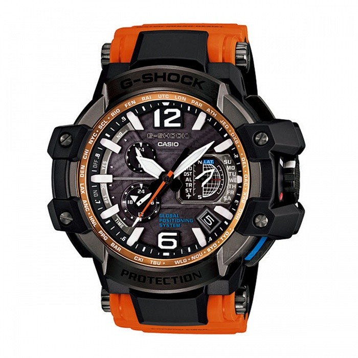 Casio G-Shock GPW-1000-4A Solar Powered 200-Meter Water Resistance Gravitymaster Series Mens Sport Watch - Black + OrangeSport Watches<br>Form  ColorBlack + OrangeModelGPW-1000-4AQuantity1 pieceShade Of ColorBlackCasing MaterialResin and Stainless steelWristband MaterialCarbon fiber insert ResinSuitable forAdultsGenderUnisexStyleWrist WatchTypeCasual watchesDisplayAnalogMovementQuartzDisplay Format12 hour formatWater ResistantOthers,200-meter water resistanceDial Diameter6.6 cmDial Thickness1.88 cmWristband Length22 cmBand Width2.5 cmBatteryTough SolarPacking List1 x GPW-1000-4A Watch<br>