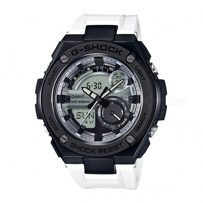 Casio G-Shock GST-210B-7A 200-Meter Water Resistance G-STEEL Series Watch - Black + WhiteSport Watches<br>Form  ColorBlack + WhiteModelGST-210B-7AQuantity1 pieceShade Of ColorBlackCasing MaterialResin / Stainless steel and ResinWristband MaterialResinSuitable forAdultsGenderUnisexStyleWrist WatchTypeCasual watchesDisplayAnalog + DigitalMovementDigitalDisplay Format12/24 hour time formatWater ResistantOthers,200-meter water resistanceDial Diameter5.91 cmDial Thickness1.61 cmWristband Length22 cmBand Width2.5 cmBattery2 ? SR927WPacking List1 x GST-210B-7A Watch<br>