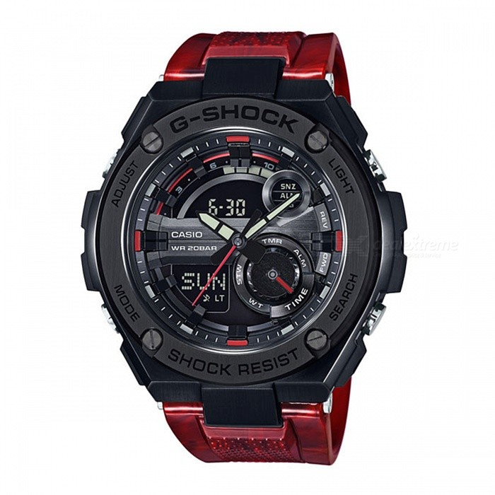 Casio G-Shock GST-210M-4A 200-Meter Water Resistance G-STEEL Series Watch - Black + RedSport Watches<br>Form  ColorBlack + RedModelGST-210M-4AQuantity1 pieceShade Of ColorBlackCasing MaterialResin and Stainless steelWristband MaterialResinSuitable forAdultsGenderUnisexStyleWrist WatchTypeCasual watchesDisplayAnalog + DigitalMovementDigitalDisplay Format12/24 hour time formatWater ResistantOthers,200-meter water resistanceDial Diameter5.91 cmDial Thickness1.61 cmWristband Length22 cmBand Width2.5 cmBattery2 x SR927WPacking List1 x GST-210M-4A Watch<br>