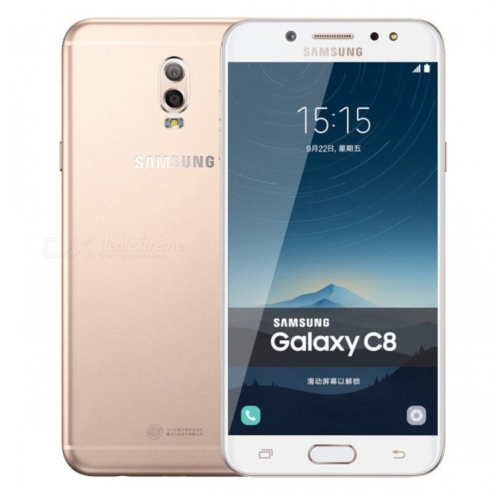 Samsung Galaxy C8 C7100 LTE Mobile Phone with 3GB RAM 32GB ROM - GoldAndroid Phones<br>Form  ColorGoldenRAM3GBROM32GBBrandSamsungModelSM-C7100 Galaxy C8 DuosQuantity1 setMaterialMetalShade Of ColorGoldTypeBrand NewPower AdapterUS PlugHousing Case MaterialMetalTime of Release2017/9Network Type2G,3G,4GBand DetailsTD-LTE, FDD-LTEData TransferGPRS,LTEWLAN Wi-Fi 802.11 a,b,g,nSIM Card TypeNano SIMSIM Card Quantity2Network StandbyDual Network StandbyGPSYesNFCNoBluetooth VersionBluetooth V4.2Operating SystemOthers,Android 7.1CPU ProcessorMediaTek MT6757T (Helio P25), 2016, 64 bitCPU Core QuantityOcta-CoreGPUARM Mali-T880 GPULanguageNot SpecifyAvailable Memory32GB ROMMemory CardSupports Micro SD CardMax. Expansion SupportedUp to 256GBSize Range5.5 inches &amp; OverTouch Screen TypeYesScreen Resolution1920*1080MultitouchOthers,YesScreen Size ( inches)5.5Camera type2 x CamerasCamera PixelOthers,13MP + 5.0MPFront Camera Pixels16 MPFlashYesTalk Time- hourStandby Time- hourBattery Capacity3000 mAhBattery ModeNon-removablefeaturesWi-Fi,BluetoothSensorProximity,Fingerprint authentication sensorWaterproof LevelIPX0 (Not Protected)I/O InterfaceMicro USB,3.5mmReference Websites== Will this mobile phone work with a certain mobile carrier of yours? ==Packing List1 x Cell Phone1 x Power Adapter1 x USB Cable1 x User Manual<br>