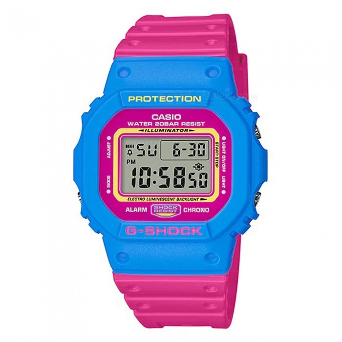 Casio G-Shock DW-5600TB-4B Digital Watch - Pink + BlueSport Watches<br>Form  ColorPink + BlueModelDW-5600TB-4BQuantity1 pieceShade Of ColorPinkCasing MaterialResinWristband MaterialResinSuitable forAdultsGenderMenStyleWrist WatchTypeFashion watchesDisplayDigitalBacklightElectro-luminescent backlightMovementDigitalDisplay Format12/24 hour time formatWater ResistantOthers,200-meter water resistanceDial Diameter4.89 cmDial Thickness1.34 cmWristband Length23 cmBand Width2.5 cmBattery1 x CR2016Packing List1 x DW-5600TB-4B Watch<br>