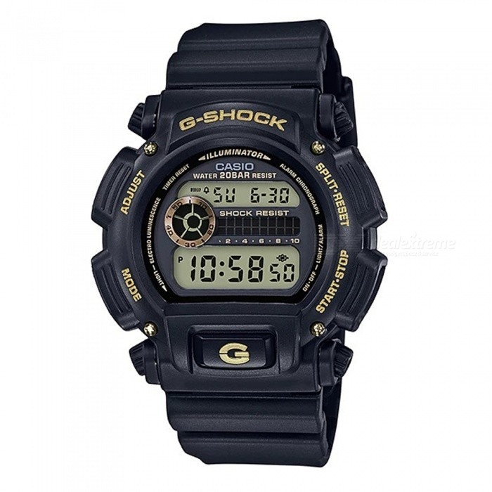 Casio G-Shock DW-9052GBX-1A9 Standard Series Mens Digital Watch - Black + GoldSport Watches<br>Form  ColorBlack + GoldModelDW-9052GBX-1A9Quantity1 pieceShade Of ColorBlackCasing MaterialResinWristband MaterialResinSuitable forAdultsGenderMenStyleWrist WatchTypeCasual watchesDisplayDigitalBacklightElectro-luminescent backlightMovementDigitalDisplay Format12/24 hour time formatWater ResistantOthers,200-meter water resistanceDial Diameter4.85 cmDial Thickness1.47 cmWristband Length23 cmBand Width2.5 cmBattery1 x CR2016Packing List1 x DW-9052GBX-1A9 Watch<br>