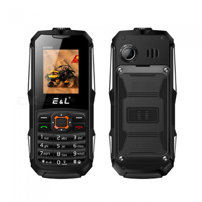 E&amp;L K6900 1.8 2 Waterproof IP68 Phone w/ 32MB RAM, 32MB ROM - BlackFeature Phones<br>Form  ColorBlackModelK6900Quantity1 setNetwork Type2GBand DetailsGSMNetwork StandbyDual Network StandbySIM Card Quantity2LanguageAfrikaans / Indonesian / Malay / Czech / Danish / Germany(German) / Germany (Austria) / English(United Kingdom) / English(United States) / Spanish(Espana) / Spanish(Estados Unidos) / Filipino / French ...RAM32MBROM32MBMemory CardmicroSD,up to 8GBScreen Size ( inches)1.8Screen Resolution128x160Camera Pixel0.3MPBattery Capacity2000 mAhBattery ModeReplacementTalk Time16 hourStandby Time180 hourPower AdapterEU PlugI/O InterfaceMicro USBCertificationMIL-STD-810GOther Features1.8  + Dual Network Standby  + 32MB RAM + 32MB ROM + 0.3MP Rear camera + 2000mAh batteryPacking List1 x Cell phone1 x EU Plug Power adapter1 x User manual1 x Warranty manual<br>
