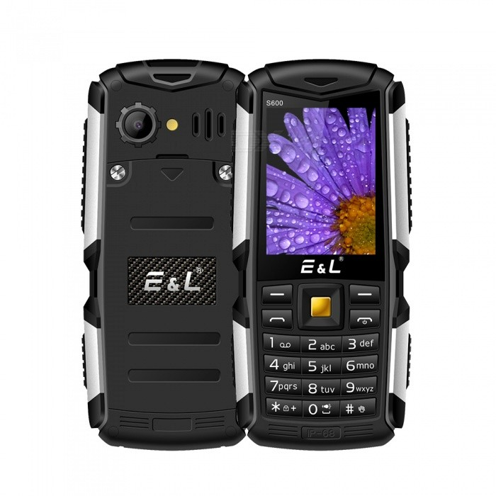 E&amp;L S600 2.4 Waterproof IP68 Phone w/ 32MB RAM, 32MB ROM - BlackFeature Phones<br>Form  ColorBlackModelS600Quantity1 setNetwork Type2GBand Details2G GSM(850MHz/900MHz/1800MHz/1900MHz)Network StandbyDual Network StandbySIM Card Quantity2LanguageAfrikaans / Indonesian / Malay / Czech / Danish / Germany(German) / Germany (Austria) / English(United Kingdom) / English(United States) / Spanish(Espana) / Spanish(Estados Unidos) / Filipino / French ...RAM32MBROM32MBScreen Size ( inches)Others,2.4Screen Resolution240x320Camera Pixel0.3MPBattery Capacity2000 mAhBattery ModeReplacementTalk Time16 hourStandby Time180 hourPower AdapterEU PlugI/O InterfaceMicro USBCertificationMIL-STD-810GOther Features2.4  + Dual Network Standby  + 32MB RAM + 32MB ROM + 0.3MP Rear camera + 2000mAh batteryPacking List1 x Cell phone1 x EU Plug Power adapter1 x User manual1 x Warranty manual<br>