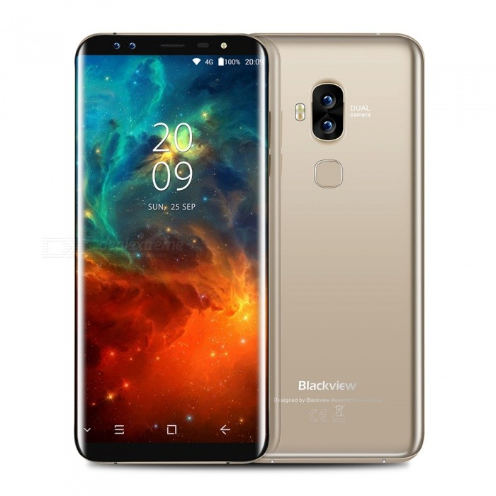 Blackview S8 Android 7.0 4G 5.7 Dual SIM Quad-Core Phone w/ 4GB RAM, 64GB ROM - GoldenAndroid Phones<br>Form  ColorGoldenRAM4GBROM64GBBrandBlackviewModelS8Quantity1 setMaterialMetalShade Of ColorGoldTypeBrand NewPower AdapterEU PlugHousing Case MaterialMetalNetwork Type2G,3G,4GBand Details2G 850/900/1800/1900     WCDMA:B1/B8   4G  B1/ B3/ B7 /B8 /B20Data TransferGPRS,LTEWLAN Wi-Fi 802.11 a,b,g,nSIM Card TypeMicro SIM,Nano SIMSIM Card Quantity2Network StandbyDual Network StandbyGPSYesNFCNoInfrared PortNoBluetooth VersionBluetooth V4.0Operating SystemOthers,Android 7.0CPU Processor1.5GHZ/1.0GHZCPU Core QuantityQuad-CoreGPUARM Mali-T860 MP2LanguageAfrikaans / Indonesian / Malay / Czech / Danish / Germany(German) / Germany (Austria) / English(United Kingdom) / English(United States) / Spanish(Espana) / Spanish(Estados Unidos) / Filipino / French / Croatian / Zulu / Italian / Swahili / Latviesu / Lithuanian / Hungarian / Dutch / Norsk bokmal / Polish / Portuguese(Brasil) / Portuguese(Portugal) / Romanian / Rumantsch / Slovak / Slovenscina / Finnish / Swedish / Vietnamese / Turkish / Russian / Greek / Hebrew / Arabic / Hindi / Thai / Korean / Simplified Chinese / Traditional Chinese.Available Memory58GBMemory CardMICRO-SIMMax. Expansion Supported128GBSize Range5.5 inches &amp; OverTouch Screen TypeIPSScreen ResolutionOthers,1440*720Screen Size ( inches)5.7Camera type2 x CamerasCamera Pixel13.0MPFront Camera Pixels8.0 MPFlashYesTalk Time16 hoursStandby Time72 hoursBattery Capacity2950 mAhBattery ModeNon-removablefeaturesWi-Fi,GPS,FM,BluetoothSensorG-sensor,ProximityWaterproof LevelIPX0 (Not Protected)Dust-proof LevelNOShock-proofNoI/O InterfaceUSB Type-cSoftwareFacebook, Twitter, Google browser, Google map, Electric Torch, FM RadioFormat SupportedWAV, AMR, MP3, MID, 3GP, RM, MPEG-4, AVIJAVANoTV TunerNoRadio TunerFMWireless ChargingNoOther Features5.7  IPS + Dual Network Standby + Android7.0 + 4GB RAM + 64GB ROM + Wi-Fi + GPS + FM  +  8.0MP Front camera+ 13.0MP Rear camera 