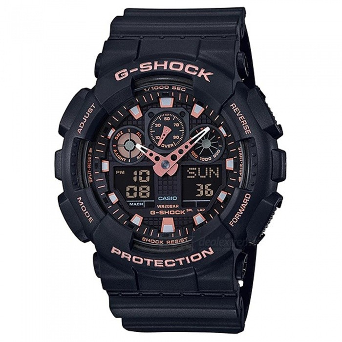 Casio G-Shock GA-100GBX-1A4 Standard Series Wrist Watch - Black + Rose GoldSport Watches<br>ColorBlack + Rose GoldModelGA-100GBX-1A4Quantity1 pieceShade Of ColorGoldCasing MaterialResinWristband MaterialResinSuitable forAdultsGenderMenStyleWrist WatchTypeFashion watchesDisplayAnalog + DigitalMovementDigitalDisplay Format12/24 hour time formatWater ResistantOthers,200-meter water resistanceDial Diameter5.5 cmDial Thickness1.69 cmWristband Length22 cmBand Width2.17 cmBatteryCR1220Packing List1 x Watch1 x User Guide<br>