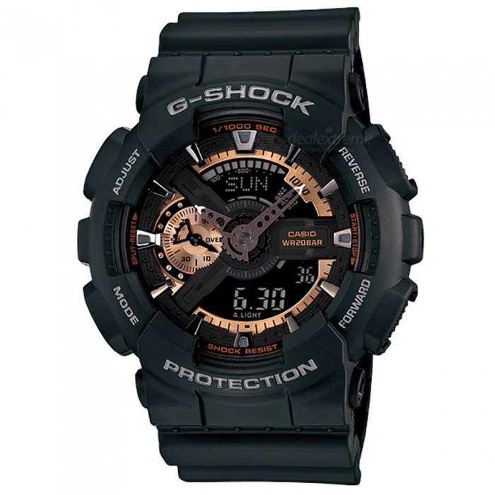 Casio G-Shock GA-110RG-1A Wrist Watch - Black + GoldSport Watches<br>ColorBlack + GoldModelGA-110RG-1AQuantity1 pieceShade Of ColorGoldCasing MaterialResinWristband MaterialResinSuitable forAdultsGenderMenStyleWrist WatchTypeFashion watchesDisplayAnalog + DigitalMovementDigitalDisplay Format12/24 hour time formatWater ResistantOthers,200-meter water resistanceDial Diameter5.5 cmDial Thickness1.69 cmWristband Length22 cmBand Width2.17 cmBatteryCR1220Packing List1 x Watch1 x Guide<br>