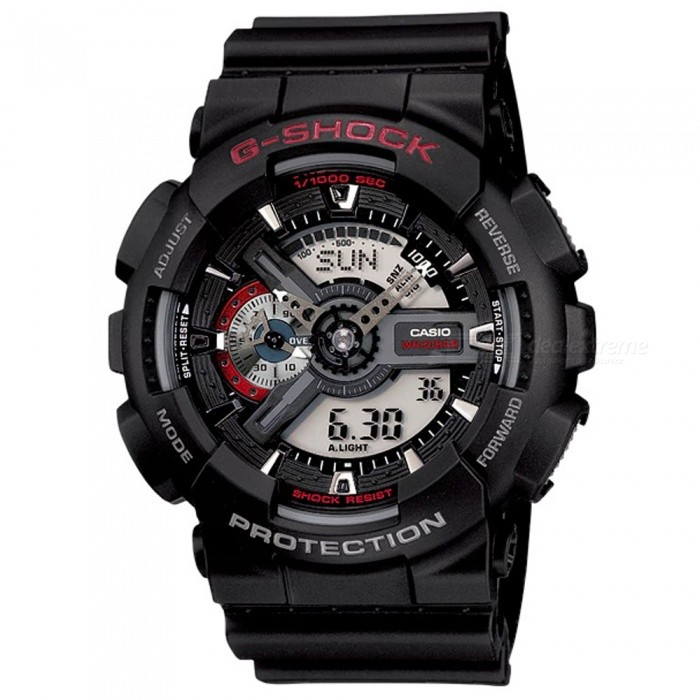 Casio G-Shock GA-110-1A Digital Combination Watch - BlackSport Watches<br>ColorBlackModelGA-110-1AQuantity1 pieceShade Of ColorBlackCasing MaterialResinWristband MaterialResinSuitable forAdultsGenderMenStyleWrist WatchTypeFashion watchesDisplayAnalog + DigitalMovementDigitalDisplay Format12/24 hour time formatWater ResistantOthers,200-meter water resistanceDial Diameter5.5 cmDial Thickness1.69 cmWristband Length22 cmBand Width2.17 cmBatteryCR1220Packing List1 x Watch1 x Guide<br>