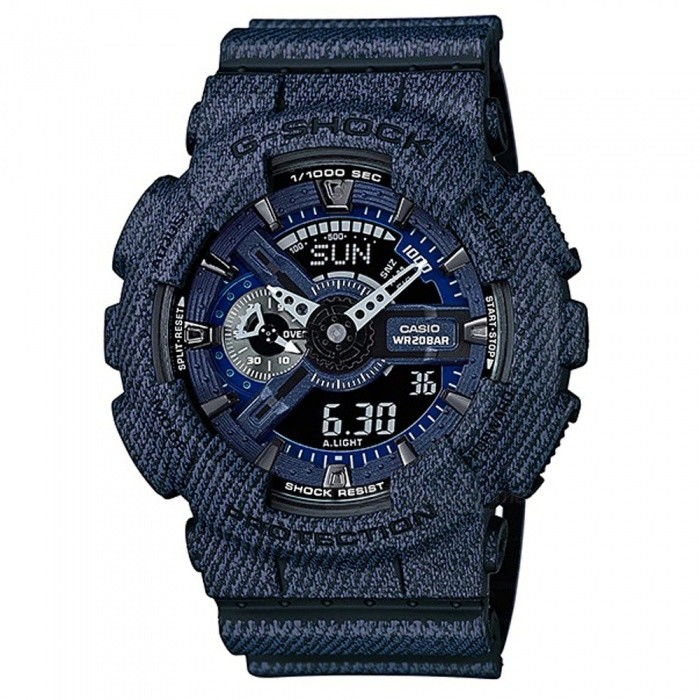 Casio G-Shock GA-110DC-1A Fashion Watch - DenimSport Watches<br>ColorDenimModelGA-110DC-1AQuantity1 pieceShade Of ColorBlueCasing MaterialResinWristband MaterialResinSuitable forAdultsGenderMenStyleWrist WatchTypeFashion watchesDisplayAnalog + DigitalMovementDigitalDisplay Format12/24 hour time formatWater ResistantOthers,200-meter water resistanceDial Diameter5.5 cmDial Thickness1.69 cmWristband Length22 cmBand Width2.17 cmBatteryCR1220Packing List1 x Watch1 x Guide<br>