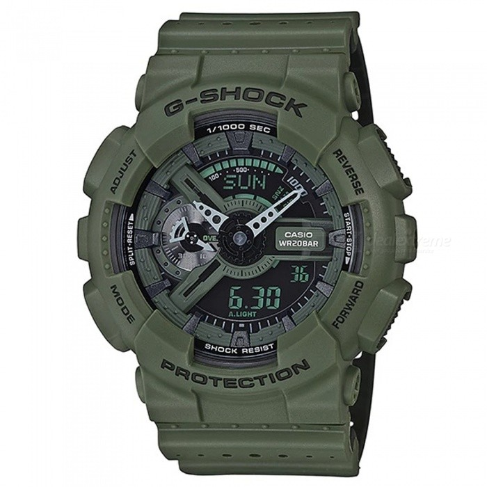 Casio G-Shock GA-110LP-3A Sports Watch - GreenSport Watches<br>ColorGreenModelGA-110LP-3AQuantity1 pieceShade Of ColorGreenCasing MaterialResinWristband MaterialResinSuitable forAdultsGenderMenStyleWrist WatchTypeCasual watchesDisplayAnalog + DigitalMovementDigitalDisplay Format12/24 hour time formatWater ResistantOthers,200-meter water resistanceDial Diameter5.5 cmDial Thickness5.12 cmWristband Length22 cmBand Width2.2 cmBatteryCR1220Packing List1 x Watch1 x Guide<br>