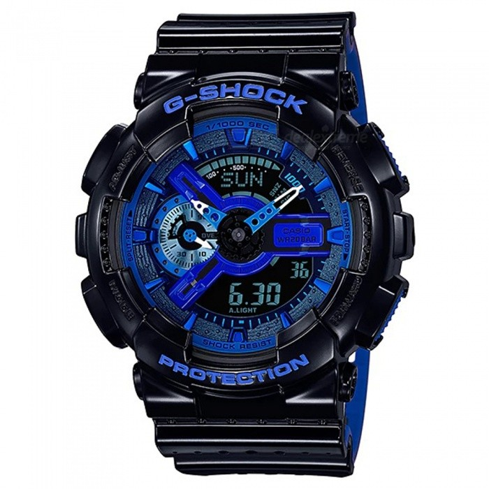 Casio G-Shock GA-110LPA-1A Sports Watch - Black + BlueSport Watches<br>ColorBlack + BlueModelGA-110LPA-1AQuantity1 pieceShade Of ColorBlueCasing MaterialResinWristband MaterialResinSuitable forAdultsGenderMenStyleWrist WatchTypeCasual watchesDisplayAnalog + DigitalMovementDigitalDisplay Format12/24 hour time formatWater ResistantOthers,200-meter water resistanceDial Diameter5.5 cmDial Thickness1.69 cmWristband Length22 cmBand Width2.17 cmBatteryCR1220Packing List1 x Watch1 x Guide<br>