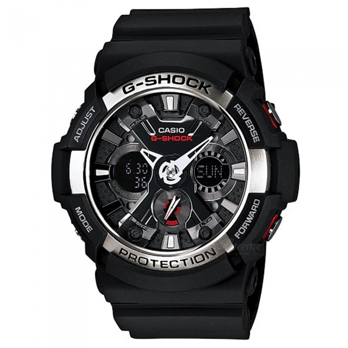 Casio G-Shock GA-200-1A Mechanical Watch - Black + SilverSport Watches<br>ColorBlack + SilverModelGA-200-1AQuantity1 pieceShade Of ColorBlackCasing MaterialResinWristband MaterialResinSuitable forAdultsGenderMenStyleWrist WatchTypeCasual watchesDisplayAnalog + DigitalMovementDigitalDisplay Format12/24 hour time formatWater ResistantOthers,200-meter water resistanceDial Diameter5.51 cmDial Thickness1.67 cmWristband Length22 cmBand Width2.17 cmBatteryCR1220Packing List1 x Watch1 x Guide<br>