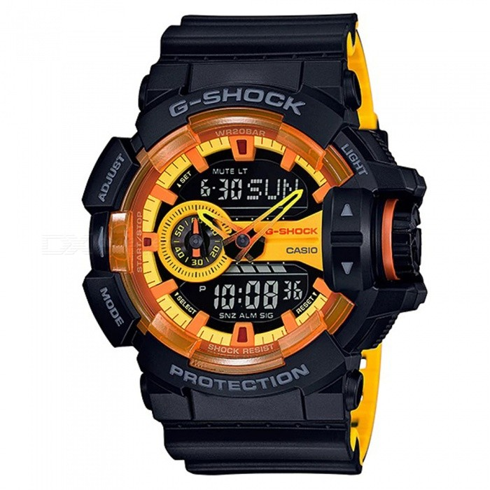 Casio G-Shock GA-400BY-1A Sports Watch - Black + YellowSport Watches<br>ColorBlack + YellowModelGA-400BY-1AQuantity1 pieceShade Of ColorYellowCasing MaterialResinWristband MaterialResinSuitable forAdultsGenderMenStyleWrist WatchTypeFashion watchesDisplayAnalog + DigitalMovementDigitalDisplay Format12/24 hour time formatWater ResistantOthers,200-meter water resistanceDial Diameter5.5 cmDial Thickness1.83 cmWristband Length22 cmBand Width2.17 cmBattery2 ? SR927WPacking List1 x Watch1 x Guide<br>