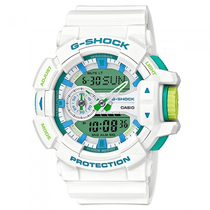 Casio G-Shock GA-400WG-7A Sports Watch - White + Blue + GreenSport Watches<br>ColorWhite + Blue + GreenModelGA-400WG-7AQuantity1 pieceShade Of ColorWhiteCasing MaterialResinWristband MaterialResinSuitable forAdultsGenderMenStyleWrist WatchTypeCasual watchesDisplayAnalog + DigitalMovementDigitalDisplay Format12/24 hour time formatWater ResistantOthers,200-meter water resistanceDial Diameter5.5 cmDial Thickness1.83 cmWristband Length22 cmBand Width2.17 cmBattery2 ? SR927WPacking List1 x Watch1 x Guide<br>