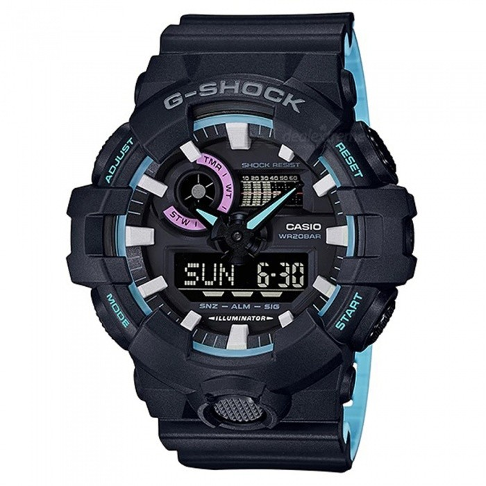 Casio G-Shock GA-700PC-1A Adults Watch - Black + BlueSport Watches<br>ColorBlack + BlueModelGA-700PC-1AQuantity1 pieceShade Of ColorBlueCasing MaterialResinWristband MaterialResinSuitable forAdultsGenderMenStyleWrist WatchTypeFashion watchesDisplayAnalog + DigitalMovementDigitalDisplay Format12/24 hour time formatWater ResistantOthers,200-meter water resistanceDial Diameter5.75 cmDial Thickness1.84 cmWristband Length22 cmBand Width2.2 cmBatteryCR2016Packing List1 x Watch1 x Guide<br>