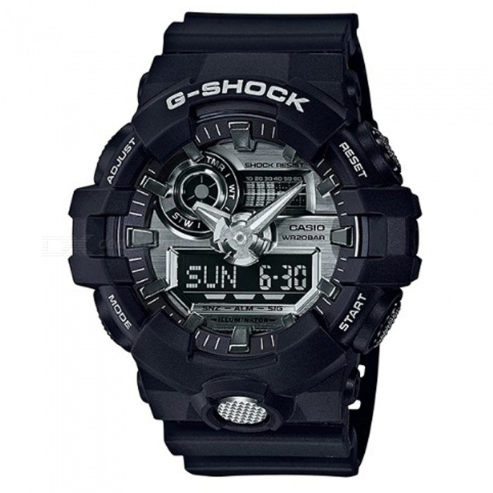 Casio G-Shock GA-710-1A Fashion Watch - BlackSport Watches<br>ColorBlackModelGA-710-1AQuantity1 pieceShade Of ColorBlackCasing MaterialResinWristband MaterialResinSuitable forAdultsGenderMenStyleWrist WatchTypeFashion watchesDisplayAnalog + DigitalMovementDigitalDisplay Format12/24 hour time formatWater ResistantOthers,200-meter water resistanceDial Diameter5.75 cmDial Thickness1.84 cmWristband Length22 cmBand Width2.17 cmBatteryCR2016Packing List1 x Watch1 x Guide<br>