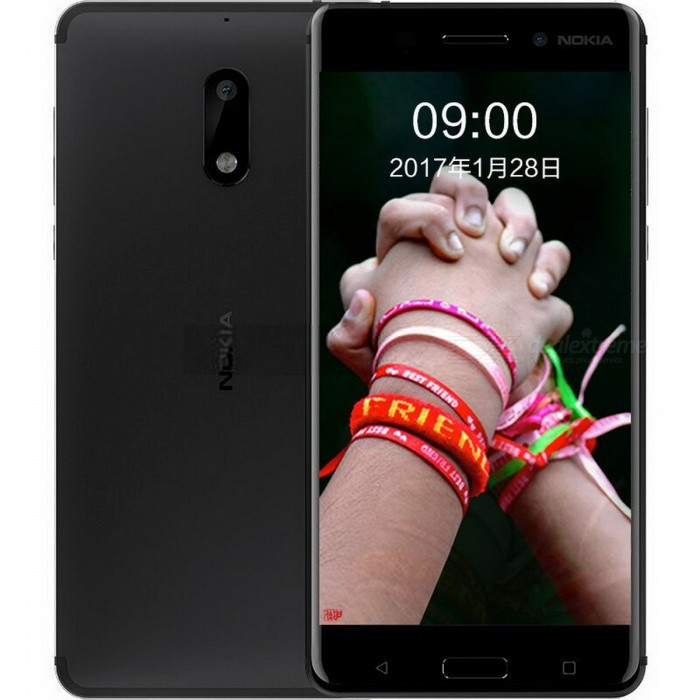 Nokia 6 TA-1003 Dual SIM 5.5 Smart Phone with 4GB RAM, 32GB ROM - Black (CN Plug)Android Phones<br>ColorBlackRAM4GBROM32GBBrandNokiaModelNokia 6 TA-1003Quantity1 setMaterialMetal + GlassShade Of ColorBlackTypeBrand NewPower AdapterOthers,CN PlugTime of Release2017Network Type2G,3G,4GBand DetailsGSM850/900/1800/1900;  UMTS2100 (B1), UMTS1900 (B2), UMTS850 (B5), UMTS900 (B8); CDMA800 (BC0), TD-SCDMA2000, TD-SCDMA1900; LTE2100 (B1), LTE1800 (B3), LTE850 (B5), LTE2600 (B7), LTE900 (B8), LTE700 (B28); TD-LTE2600 (B38), TD-LTE1900 (B39), TD-LTE2300 (B40), TD-LTE2500 (B41)Data TransferGPRS,HSDPA,EDGE,LTE,HSUPAWLAN Others,802.11b, 802.11g, 802.11n, 802.11acSIM Card TypeNano SIMSIM Card Quantity2Network StandbyDual Network StandbyGPSYes,A-GPSNFCYesBluetooth VersionBluetooth V4.1Operating SystemAndroid 7.xCPU ProcessorQualcomm Snapdragon 430 MSM8937, 2016, 64 bit, octa-core, 28 nm, Qualcomm Adreno 505 GPUCPU Core QuantityOcta-CoreGPUQualcomm Adreno 505LanguageNot SpecifyAvailable Memory23.38GBSize Range5.5 inches &amp; OverTouch Screen TypeYesScreen Resolution1920*1080MultitouchOthers,YesScreen Size ( inches)5.5Camera type2 x CamerasCamera PixelOthers,16MPFront Camera Pixels8.0 MPVideo Recording Resolution1920x1080 pixel, 30 fpsFlashYesAuto FocusPD AFTouch FocusYesOther Camera FunctionsHDR photo, Red-eye reduction, Slow motion video, Burst mode, Macro mode, Panorama Photo, Face detection, Smile detectionTalk Time18 hoursStandby Time- hourBattery Capacity3000 mAhBattery ModeNon-removablefeaturesWi-Fi,GPS,Bluetooth,NFC,OTGSensorProximity,Compass,Accelerometer,Fingerprint authentication sensor,Others,Hall sensor, Light sensor, GyroscopeWaterproof LevelOthers,YesI/O InterfaceMicro USB,3.5mm,OTGSoftwareGoogle PlayReference Websites== Will this mobile phone work with a certain mobile carrier of yours? ==Packing List1 x Cell Phone1 x Power Adapter1 x USB Charging Cable1 x User Manual<br>