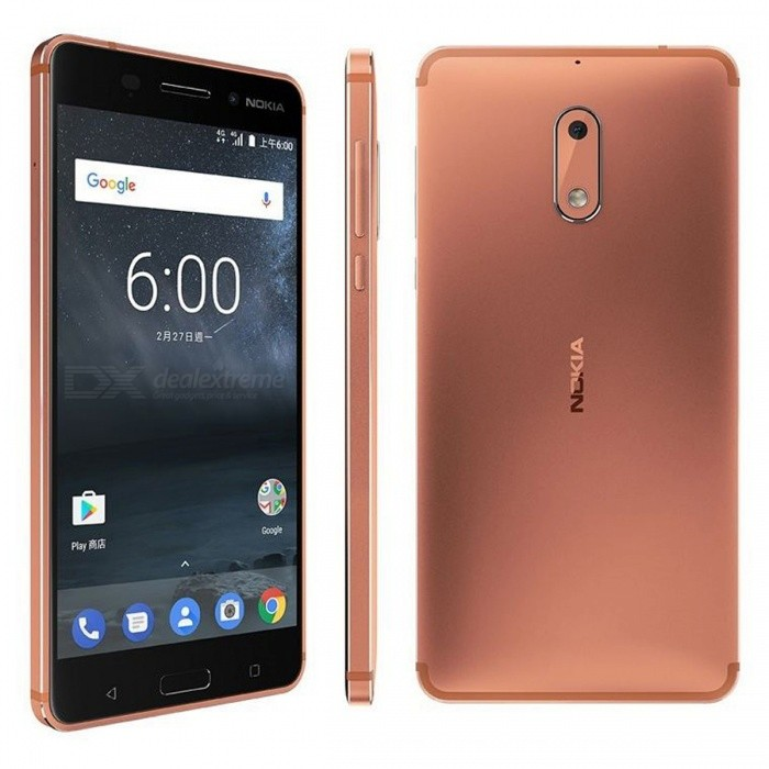 Nokia 6 TA-1003 Dual SIM 5.5 Smart Phone with 4GB RAM, 32GB ROM - Copper (CN Plug)Android Phones<br>ColorCopperRAM4GBROM32GBBrandNokiaModelNokia 6 TA-1003Quantity1 setMaterialMetal + GlassShade Of ColorBrownTypeBrand NewPower AdapterOthers,CN PlugTime of Release2017Network Type2G,3G,4GBand DetailsGSM850/900/1800/1900;  UMTS2100 (B1), UMTS1900 (B2), UMTS850 (B5), UMTS900 (B8); CDMA800 (BC0), TD-SCDMA2000, TD-SCDMA1900; LTE2100 (B1), LTE1800 (B3), LTE850 (B5), LTE2600 (B7), LTE900 (B8), LTE700 (B28); TD-LTE2600 (B38), TD-LTE1900 (B39), TD-LTE2300 (B40), TD-LTE2500 (B41)Data TransferGPRS,HSDPA,EDGE,LTE,HSUPAWLAN Others,802.11b, 802.11g, 802.11n, 802.11acSIM Card TypeNano SIMSIM Card Quantity2Network StandbyDual Network StandbyGPSYes,A-GPSNFCYesBluetooth VersionBluetooth V4.1Operating SystemAndroid 7.xCPU ProcessorQualcomm Snapdragon 430 MSM8937, 2016, 64 bit, octa-core, 28 nm, Qualcomm Adreno 505 GPUCPU Core QuantityOcta-CoreGPUQualcomm Adreno 505LanguageNot SpecifyAvailable Memory23.38GBSize Range5.5 inches &amp; OverTouch Screen TypeYesScreen Resolution1920*1080MultitouchOthers,YesScreen Size ( inches)5.5Camera type2 x CamerasCamera PixelOthers,16MPFront Camera Pixels8.0 MPVideo Recording Resolution1920x1080 pixel, 30 fpsFlashYesAuto FocusPD AFTouch FocusYesOther Camera FunctionsHDR photo, Red-eye reduction, Slow motion video, Burst mode, Macro mode, Panorama Photo, Face detection, Smile detectionTalk Time18 hoursStandby Time- hourBattery Capacity3000 mAhBattery ModeNon-removablefeaturesWi-Fi,GPS,Bluetooth,NFC,OTGSensorProximity,Compass,Accelerometer,Fingerprint authentication sensor,Others,Hall sensor, Light sensor, GyroscopeWaterproof LevelOthers,YesI/O InterfaceMicro USB,3.5mm,OTGSoftwareGoogle PlayReference Websites== Will this mobile phone work with a certain mobile carrier of yours? ==Packing List1 x Cell Phone1 x CN Plug Power Adapter1 x USB Charging Cable1 x User Manual<br>