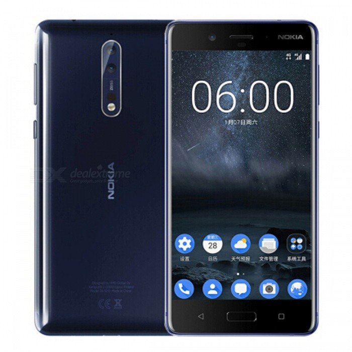 Nokia 8 TA-1052 Octa-Core Dual SIM 5.3 Smart Phone with 4GB RAM, 64GB ROM - Blue (US Plug)Android Phones<br>ColorBlueRAM4GBROM64GBBrandNokiaModelNokia 8Quantity1 setMaterialMetal + GlassShade Of ColorBlueTypeBrand NewPower AdapterUS PlugTime of Release2017Network Type2G,3G,4GBand DetailsGSM850/900/1800/1900;  UMTS2100 (B1), UMTS1900 (B2), UMTS850 (B5), UMTS900 (B8); TD-SCDMA2000, TD-SCDMA1900; LTE2100 (B1),  LTE1900 (B2), LTE1800 (B3), LTE1700/2100 (B4), LTE850 (B5), LTE2600 (B7), LTE900 (B8),  LTE800 (B20), LTE700 (B28); TD-LTE2600 (B38), TD-LTE2300 (B40), TD-LTE2500 (B41)Data TransferGPRS,HSDPA,EDGE,LTE,HSUPAWLAN Wi-Fi 802.11 a,b,g,n,acSIM Card TypeNano SIMSIM Card Quantity2Network StandbyDual Network StandbyGPSYes,A-GPSNFCYesBluetooth VersionOthers,Bluetooth V5.0Operating SystemAndroid 7.xCPU ProcessorQualcomm Snapdragon 835 MSM8998, 2017, 64 bit, octa-core, 32 Kbyte I-Cache, 32 Kbyte D-Cache, 2048 Kbyte L2, 10 nm, Qualcomm Adreno 540 GPUCPU Core QuantityOcta-CoreGPUQualcomm Adreno 540LanguageNot SpecifyAvailable Memory51.2GBSize Range5.0~5.4 inchesTouch Screen TypeYesScreen Resolution2560*1440MultitouchOthers,YesScreen Size ( inches)Others,5.3Camera type3 x CamerasCamera PixelOthers,13MP + 13MPFront Camera Pixels13 MPVideo Recording Resolution3840x2160 pixel, 30 fpsFlashYesAuto FocusCD AF; PD AF; Laser AFTouch FocusYesOther Camera FunctionsEIS, OIS, HDR Photo, HDR Video, Red-eye reduction, Slow motion video, Burst mode, Touch focus, Macro mode, Panorama Photo, Face detection, Face tagging, Smile detection, Face retouchOther Camera FeaturesMono CMOSTalk Time- hourStandby Time- hourBattery Capacity3090 mAhBattery ModeNon-removablefeaturesWi-Fi,GPS,Bluetooth,NFC,OTGSensorProximity,Compass,Accelerometer,Barometer,Fingerprint authentication sensor,Others,Hall sensor, Light sensor, 3D gyroWaterproof LevelOthers,4 Protection against water sprayed from all directions, limited ingressDust-proof Level5 Protected against dust with limited ingressI/O Interface3.5mm,USB Type-cReference Websites== Will this mobile phone work with a certain mobile carrier of yours? ==Packing List1 x Cell Phone1 x Power Adapter1 x USB Charging Cable1 x User Manual<br>