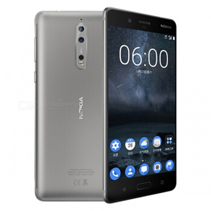 Nokia 8 TA-1052 Octa-Core Dual SIM 5.3 Smart Phone with 4GB RAM, 64GB ROM - Silver (US Plug)Android Phones<br>ColorSilverRAM4GBROM64GBBrandNokiaModelNokia 8Quantity1 setMaterialMetal + GlassShade Of ColorSilverTypeBrand NewPower AdapterUS PlugTime of Release2017Network Type2G,3G,4GBand DetailsGSM850/900/1800/1900;  UMTS2100 (B1), UMTS1900 (B2), UMTS850 (B5), UMTS900 (B8); TD-SCDMA2000, TD-SCDMA1900; LTE2100 (B1),  LTE1900 (B2), LTE1800 (B3), LTE1700/2100 (B4), LTE850 (B5), LTE2600 (B7), LTE900 (B8),  LTE800 (B20), LTE700 (B28); TD-LTE2600 (B38), TD-LTE2300 (B40), TD-LTE2500 (B41)Data TransferGPRS,HSDPA,EDGE,LTE,HSUPAWLAN Wi-Fi 802.11 a,b,g,n,acSIM Card TypeNano SIMSIM Card Quantity2Network StandbyDual Network StandbyGPSYes,A-GPSNFCYesBluetooth VersionOthers,Bluetooth V5.0Operating SystemAndroid 7.xCPU ProcessorQualcomm Snapdragon 835 MSM8998, 2017, 64 bit, octa-core, 32 Kbyte I-Cache, 32 Kbyte D-Cache, 2048 Kbyte L2, 10 nm, Qualcomm Adreno 540 GPUCPU Core QuantityOcta-CoreGPUQualcomm Adreno 540LanguageNot SpecifyAvailable Memory51.2GBSize Range5.0~5.4 inchesTouch Screen TypeYesScreen Resolution2560*1440MultitouchOthers,YesScreen Size ( inches)Others,5.3Camera type3 x CamerasCamera PixelOthers,13MP + 13MPFront Camera Pixels13 MPVideo Recording Resolution3840x2160 pixel, 30 fpsFlashYesAuto FocusCD AF; PD AF; Laser AFTouch FocusYesOther Camera FunctionsEIS, OIS, HDR Photo, HDR Video, Red-eye reduction, Slow motion video, Burst mode, Touch focus, Macro mode, Panorama Photo, Face detection, Face tagging, Smile detection, Face retouchOther Camera FeaturesMono CMOSTalk Time- hourStandby Time- hourBattery Capacity3090 mAhBattery ModeNon-removablefeaturesWi-Fi,GPS,Bluetooth,NFC,OTGSensorProximity,Compass,Accelerometer,Barometer,Fingerprint authentication sensor,Others,Hall sensor, Light sensor, 3D gyroWaterproof LevelOthers,4 Protection against water sprayed from all directions, limited ingressDust-proof Level5 Protected against dust with limited ingressI/O Interface3.5mm,USB Type-cReference Websites== Will this mobile phone work with a certain mobile carrier of yours? ==Packing List1 x Cell Phone1 x Power Adapter1 x USB Charging Cable1 x User Manual<br>