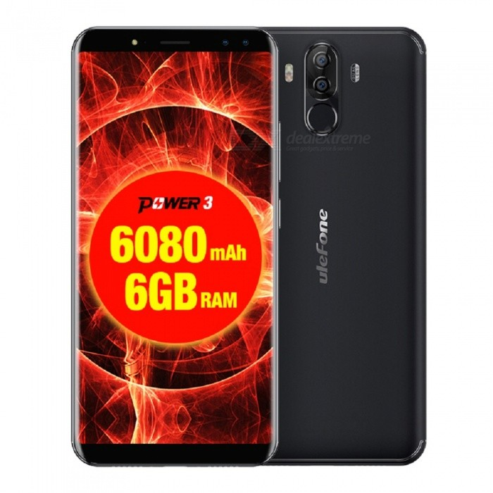 Ulefone Power 3 Android 7.1 6.0 18:9 6080mAh 5V 3A Hi-Fi Face Unlock Quad Camera 4G Phone w/ 6GB RAM 64GB ROM - BlackAndroid Phones<br>ColorBlackRAM6GBROM64GBBrandUlefoneModelPower 3Quantity1 pieceMaterialPCShade Of ColorBlackTypeBrand NewPower AdapterEU PlugHousing Case MaterialPCTime of Release2017.12.20Network Type2G,3G,4GBand DetailsGSM: 850/900/1800/1900(B5/8/3/2)WCDMA: 2100/900 (B1/8 )FDD-LTE: 2100/1800/2600/900/800) (B1/3/7/8/20)Data TransferGPRS,HSDPA,EDGE,LTEWLAN Wi-Fi 802.11 a,b,g,n,Dual band Wi-Fi (2.4GHz / 5GHz)SIM Card TypeNano SIMSIM Card Quantity2Network StandbyDual Network StandbyGPSYes,A-GPS,GLONASSNFCNoBluetooth VersionBluetooth V4.1Operating SystemAndroid 7.xCPU ProcessorMTK MT6763 <br>Octa-core 64-bit 2.0GHzCPU Core QuantityOcta-CoreGPUARM Mali-G71 MP2 700MHzLanguageIndonesian, Malay, Catalan, Czech, Danish, German, Estonian, English, Spanish, Filipino, French, Croatian, Italian, Latvian, Lithuanian, Hungarian, Dutch, Norwegian, Polish, Portuguese, Romanian, Slovak, Finnish, Swedish, Vietnamese, Greek, Turkish, Bulgarian, Russian, Serb, Ukrainian, Armenian, Hebrew, Urdu, Arabic, Persian, Hindi, Bengali, Thai, Korean, Burmese, Japanese, Simplified Chinese, Traditional ChineseAvailable Memory53 GBMemory CardTF CardMax. Expansion Supported256GBSize Range5.5 inches &amp; OverTouch Screen TypeIPSScreen Resolution1920*1080Multitouch5Screen Size ( inches)6.0Camera type4 x CamerasCamera PixelOthers,16MP(SW 21MP)+5MPFront Camera Pixels8MP(SW 13MP)+5MP MPFlashYesAuto FocusYESTouch FocusYesOther Camera FeaturesS5K3P3<br>16.0MP(SW 21MP) + 5MP Samsung® dual rear cameraTalk Time45 hourStandby Time30 daysBattery Capacity6080 mAhBattery ModeNon-removableQuick Charge5V 3AfeaturesWi-Fi,GPS,FM,Bluetooth,OTGSensorG-sensor,Proximity,Compass,Gesture,Fingerprint authentication sensor,Others,Face Unlock L-sensorWaterproof LevelIPX0 (Not Protected)I/O Interface3.5mm,Micro USB v2.0,OTGSoftwarePlay Store, E-mail, Gmail, Calculator, File manager, Clock, Calendar, Gallery, Video Player, Music, Sound Recorder, FM Radio, etc.Format SupportedAVI / MP4 / 3GP / MOV / MKV / FLV / FLAC / APE / MP3 / OGG / AMR / AACRadio TunerFMWireless ChargingNoOther Features6.0 FHD IPS + Dual Network Standby + Android 7.1 + 6GB RAM + 64GB ROM + Dual Wi-Fi + GPS + FM + OTG + Dual Rear Camera 21.0MP 5MP+ Dual Front Camera 13.0MP 5MP  + Gesture control + 6080mAh battery + fingerprint  + Octa core + Face Recognition + Type-C + 5V 3A Quick-Charger + 18:9 Full Screen + Compass+HIFI+EU PlugReference Websites== Will this mobile phone work with a certain mobile carrier of yours? ==CertificationGMS .CE. MSDS. UN38.3 ect.Packing List1 * Phone 1 * OTG Cable 1 * Data cable (100cm)1 * Transparent protective film1 * Transparent protective Case1 * Micro USB to Type-C adapter1 * Type C to 3.5mm headphone adapter1 * SIM Needle1 * AC power charger adapter ( 100~240V / EU plug) 1 * Warranty card1 * Multi-language user manual<br>