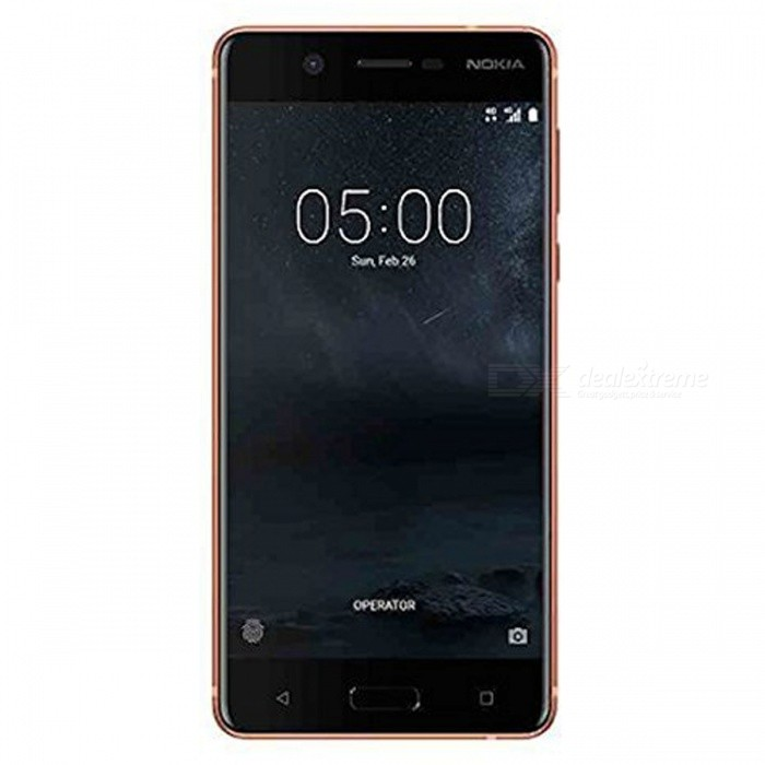 Nokia 5 Single SIM Octa-Core 5.2 Smart Phone with 2GB RAM, 16GB ROM - CopperAndroid Phones<br>ColorCopperRAM2GBROM16GBBrandNokiaModelNokia 5Quantity1 setMaterialMetal + GlassShade Of ColorBrownTypeBrand NewPower AdapterOthers,Taiwan PlugTime of Release2017Network Type2G,3G,4GBand DetailsGSM850/900/1800/1900;  UMTS2100 (B1), UMTS1900 (B2), UMTS850 (B5), UMTS900 (B8); LTE2100 (B1), LTE1800 (B3), LTE850 (B5), LTE2600 (B7), LTE900 (B8), LTE800 (B20), LTE700 (B28); TD-LTE2600 (B38), TD-LTE2300 (B40)Data TransferGPRS,HSDPA,EDGE,LTE,HSUPAWLAN Wi-Fi 802.11 b,g,n,Others,Wi-Fi Tethering, Wi-Fi DirectSIM Card TypeNano SIMSIM Card Quantity1GPSYes,A-GPSNFCYesBluetooth VersionBluetooth V4.1Operating SystemAndroid 7.xCPU ProcessorQualcomm Snapdragon 430 MSM8937, 2016, 64 bit, octa-core, 28 nmCPU Core QuantityOcta-CoreGPUQualcomm Adreno 505LanguageNot SpecifyAvailable Memory9.3GBSize Range5.0~5.4 inchesTouch Screen TypeYesScreen Resolution1280*720MultitouchOthers,YesScreen Size ( inches)Others,5.2Camera type2 x CamerasCamera Pixel13.0MPFront Camera Pixels8.0 MPVideo Recording Resolution1920x1080 pixel, 30 fpsFlashYesAuto FocusCD AF; PD AFTouch FocusYesOther Camera FunctionsHDR photo, Red-eye reduction, Burst mode, Touch focus, Macro mode, Panorama Photo, Face detection, Smile detection, Slow motion videoTalk Time- hourStandby Time- hourBattery Capacity3000 mAhBattery ModeNon-removablefeaturesWi-Fi,GPS,Bluetooth,NFC,OTGSensorProximity,Compass,Accelerometer,Fingerprint authentication sensor,Others,Hall sensor, Light sensor, GyroscopeWaterproof LevelOthers,YesDust-proof LevelYesI/O InterfaceMicro USB,3.5mm,OTGReference Websites== Will this mobile phone work with a certain mobile carrier of yours? ==Packing List1 x Cell Phone1 x Power Adapter1 x USB Charging Cable1 x User Manual<br>