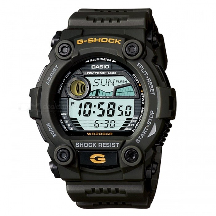 Casio G-7900-3 G-Shock Digital Sports Watch - Green RescueSport Watches<br>ColorGreen RescueModelG-7900-3Quantity1 pieceShade Of ColorBrownCasing MaterialResinWristband MaterialResinSuitable forAdultsGenderMenStyleWrist WatchTypeFashion watchesDisplayDigitalMovementDigitalDisplay Format12/24 hour time formatWater ResistantOthers,200-meter water resistanceDial Diameter5.24 cmDial Thickness1.77 cmWristband Length22 cmBand Width2.5 cmBattery1 x CR2025Packing List1 x G-7900-3<br>