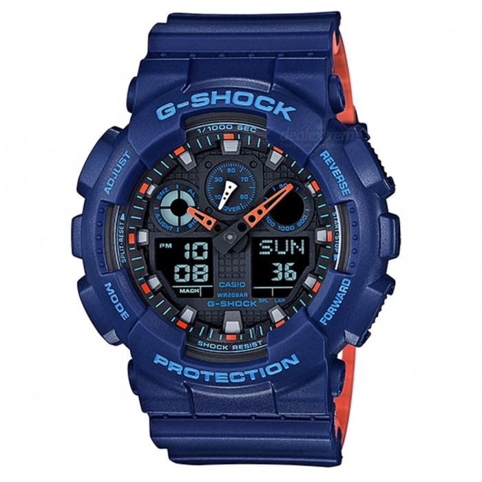 Casio G-Shock GA-100L-2A Analog Digital Watch - BlueSport Watches<br>ColorBlueModelGA-100L-2AQuantity1 pieceShade Of ColorBlueCasing MaterialResinWristband MaterialResinSuitable forAdultsGenderMenStyleWrist WatchTypeFashion watchesDisplayAnalog + DigitalMovementDigitalDisplay Format12/24 hour time formatWater ResistantOthers,200-meter water resistanceDial Diameter5.5 cmDial Thickness1.69 cmWristband Length22 cmBand Width2.2 cmBattery1 x CR1220Packing List1 x Watch1 x Guide<br>