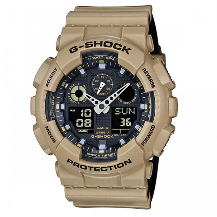 Casio G-Shock GA-100L-8A Analog Digital Watch - BeigeSport Watches<br>ColorBeigeModelGA-100L-8AQuantity1 pieceShade Of ColorBrownCasing MaterialResinWristband MaterialResinSuitable forAdultsGenderMenStyleWrist WatchTypeFashion watchesDisplayAnalog + DigitalMovementDigitalDisplay Format12/24 hour time formatWater ResistantOthers,200-meter water resistanceDial Diameter5.5 cmDial Thickness1.69 cmWristband Length22 cmBand Width2.2 cmBattery1 x CR1220Packing List1 x Watch1 x Guide<br>