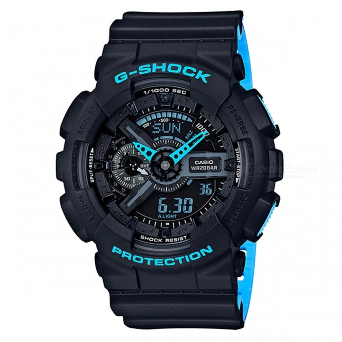 Casio G-Shock GA-110LN-1A Analog Digital Watch - Black + Neon BlueSport Watches<br>ColorBlack + Neon BlueModelGA-110LN-1AQuantity1 pieceShade Of ColorBlackCasing MaterialResinWristband MaterialResinSuitable forAdultsGenderMenStyleWrist WatchTypeFashion watchesDisplayAnalog + DigitalMovementDigitalDisplay Format12/24 hour time formatWater ResistantOthers,200-meter water resistanceDial Diameter5.5 cmDial Thickness1.69 cmWristband Length22 cmBand Width2.2 cmBattery1 x CR1220Packing List1 x Watch1 x Guide<br>