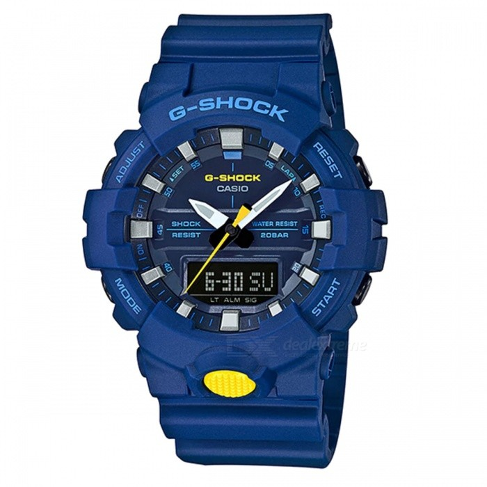 Casio G-Shock GA-800SC-2A Standard Analog Digital Watch - BlueSport Watches<br>ColorBlueModelGA-800SC-2AQuantity1 pieceShade Of ColorBlueCasing MaterialResinWristband MaterialResinSuitable forAdultsGenderMenStyleWrist WatchTypeFashion watchesDisplayAnalog + DigitalMovementDigitalDisplay Format12/24 hour time formatWater ResistantOthers,200-meter water resistanceDial Diameter5.41 cmDial Thickness1.55 cmWristband Length22 cmBand Width2.2 cmBattery1 x CR2016Packing List1 x Watch1 x Guide<br>