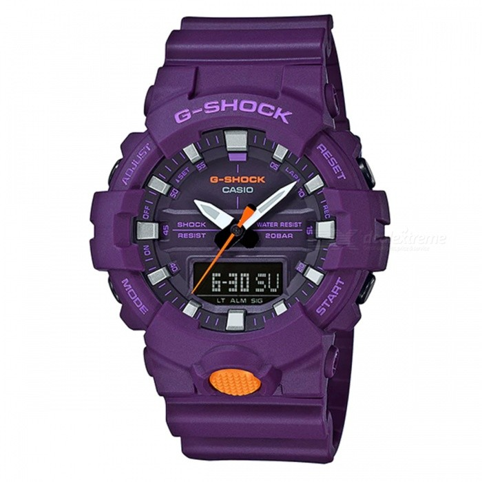 Casio G-Shock GA-800SC-6A Standard Analog Digital Watch - PurpleSport Watches<br>ColorPurpleModelGA-800SC-6AQuantity1 pieceShade Of ColorPurpleCasing MaterialResinWristband MaterialResinSuitable forAdultsGenderMenStyleWrist WatchTypeFashion watchesDisplayAnalog + DigitalMovementDigitalDisplay Format12/24 hour time formatWater ResistantOthers,200-meter water resistanceDial Diameter5.41 cmDial Thickness1.55 cmWristband Length22 cmBand Width2.2 cmBattery1 x CR2016Packing List1 x Watch1 x Guide<br>