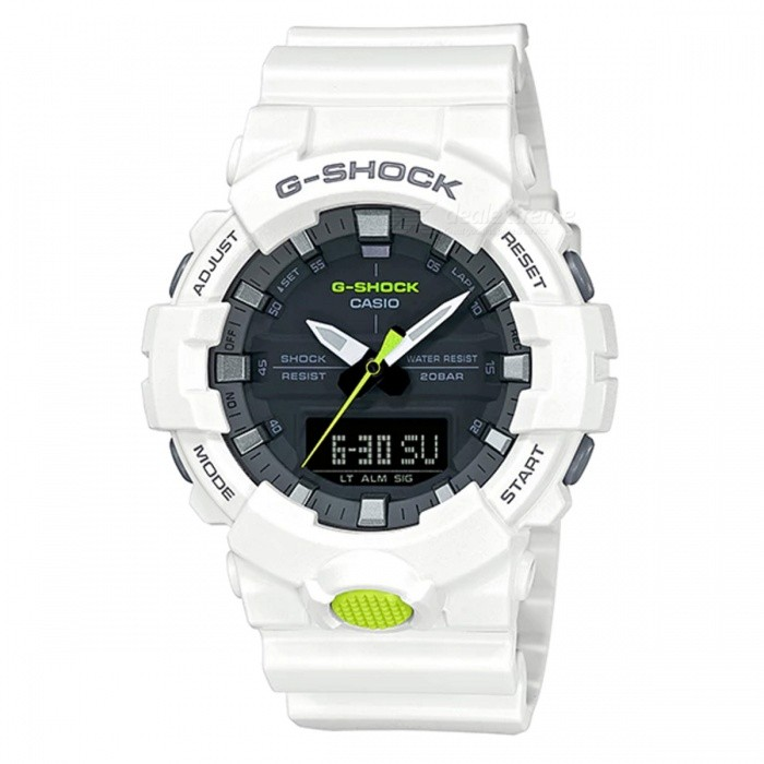 Casio G-Shock GA-800SC-7A Standard Analog Digital Watch - White BaseSport Watches<br>ColorWhite BaseModelGA-800SC-7AQuantity1 pieceShade Of ColorWhiteCasing MaterialResinWristband MaterialResinSuitable forAdultsGenderMenStyleWrist WatchTypeFashion watchesDisplayAnalog + DigitalMovementDigitalDisplay Format12/24 hour time formatWater ResistantOthers,200-meter water resistanceDial Diameter5.41 cmDial Thickness1.55 cmWristband Length22 cmBand Width2.2 cmBattery1 x CR2016Packing List1 x Watch1 x Guide<br>