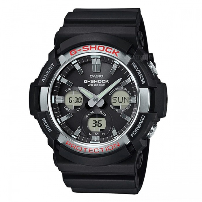 Casio G-Shock GAS-100-1A Standard Analog Digital Watch - Basic BlackSport Watches<br>ColorBasic BlackModelGAS-100-1AQuantity1 pieceShade Of ColorBlackCasing MaterialResinWristband MaterialResinSuitable forAdultsGenderMenStyleWrist WatchTypeFashion watchesDisplayAnalog + DigitalMovementDigitalDisplay Format12/24 hour time formatWater ResistantOthers,200-meter water resistanceDial Diameter5.51 cmDial Thickness1.67 cmWristband Length22 cmBand Width2.2 cmBatterySolar poweredPacking List1 x Watch1 x Guide<br>